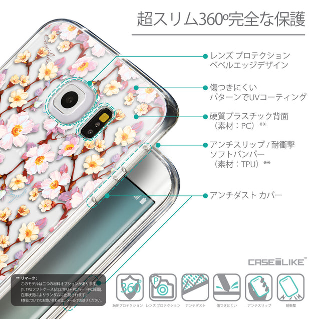 Details in Japanese - CASEiLIKE Samsung Galaxy S6 Edge back cover Watercolor Floral 2236