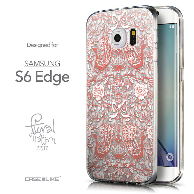 Front & Side View - CASEiLIKE Samsung Galaxy S6 Edge back cover Roses Ornamental Skulls Peacocks 2237
