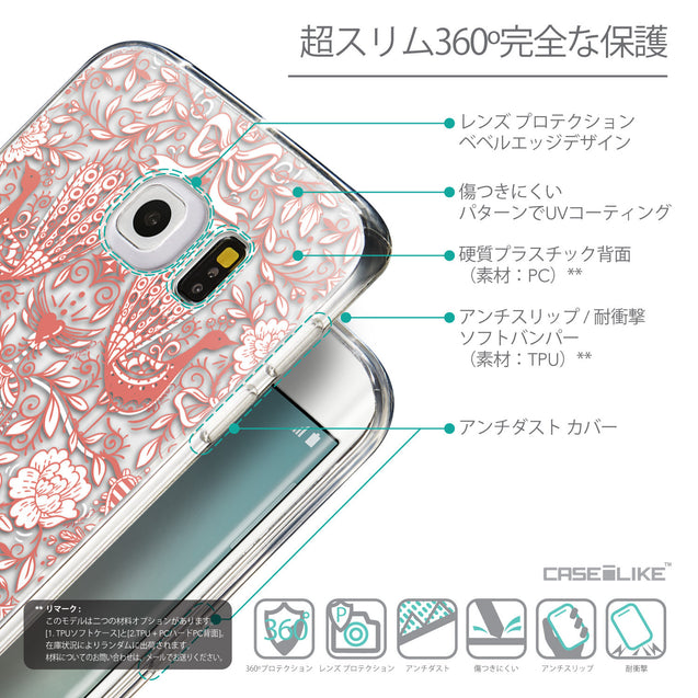Details in Japanese - CASEiLIKE Samsung Galaxy S6 Edge back cover Roses Ornamental Skulls Peacocks 2237