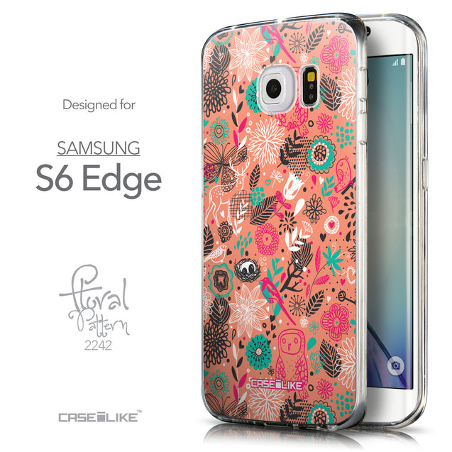Front & Side View - CASEiLIKE Samsung Galaxy S6 Edge back cover Spring Forest Pink 2242