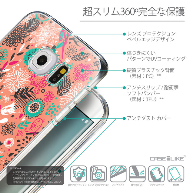Details in Japanese - CASEiLIKE Samsung Galaxy S6 Edge back cover Spring Forest Pink 2242