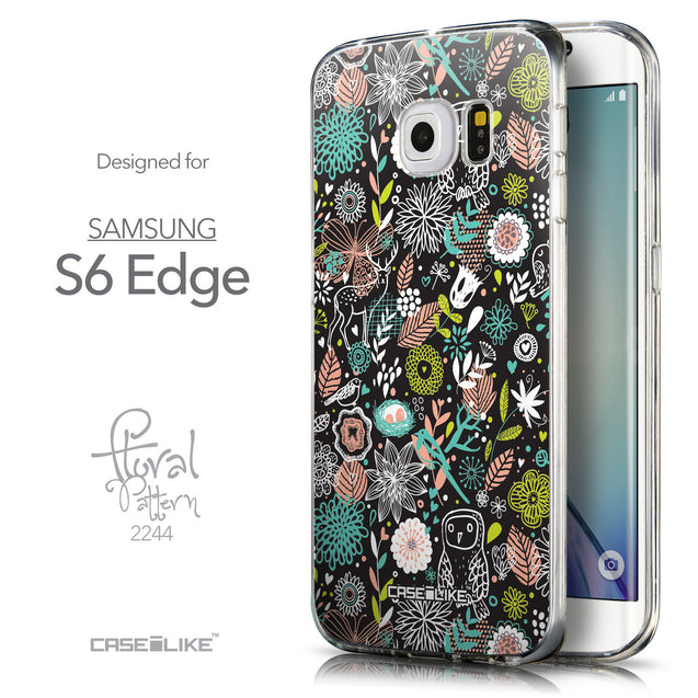 Front & Side View - CASEiLIKE Samsung Galaxy S6 Edge back cover Spring Forest Black 2244