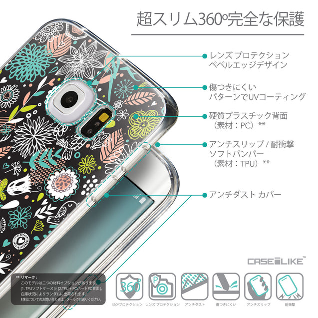 Details in Japanese - CASEiLIKE Samsung Galaxy S6 Edge back cover Spring Forest Black 2244