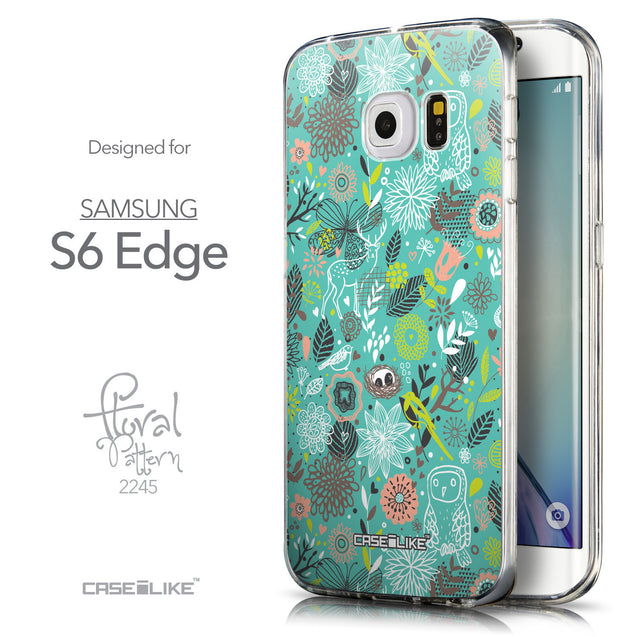 Front & Side View - CASEiLIKE Samsung Galaxy S6 Edge back cover Spring Forest Turquoise 2245