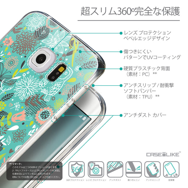 Details in Japanese - CASEiLIKE Samsung Galaxy S6 Edge back cover Spring Forest Turquoise 2245