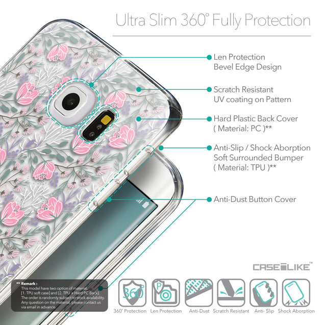 Details in English - CASEiLIKE Samsung Galaxy S6 Edge back cover Flowers Herbs 2246