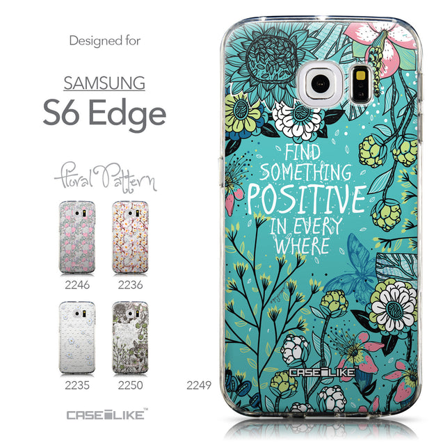 Collection - CASEiLIKE Samsung Galaxy S6 Edge back cover Blooming Flowers Turquoise 2249