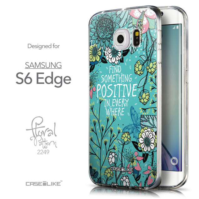 Front & Side View - CASEiLIKE Samsung Galaxy S6 Edge back cover Blooming Flowers Turquoise 2249