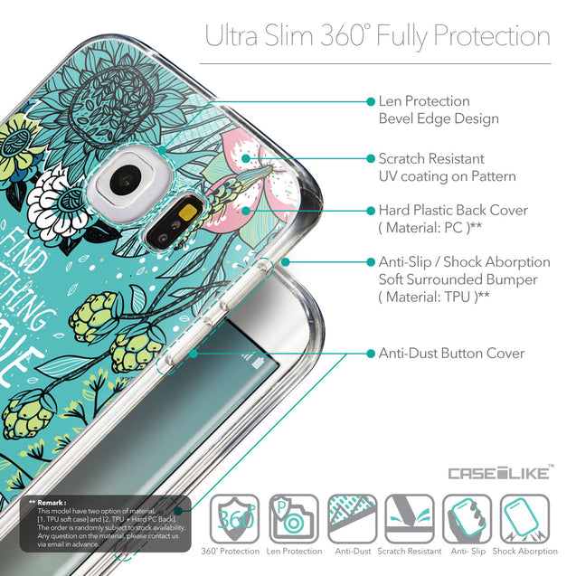 Details in English - CASEiLIKE Samsung Galaxy S6 Edge back cover Blooming Flowers Turquoise 2249