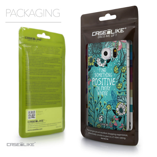 Packaging - CASEiLIKE Samsung Galaxy S6 Edge back cover Blooming Flowers Turquoise 2249