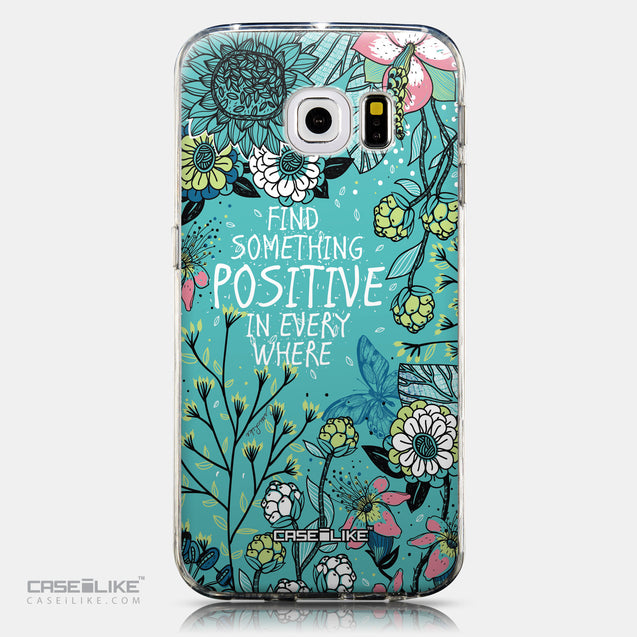 CASEiLIKE Samsung Galaxy S6 Edge back cover Blooming Flowers Turquoise 2249