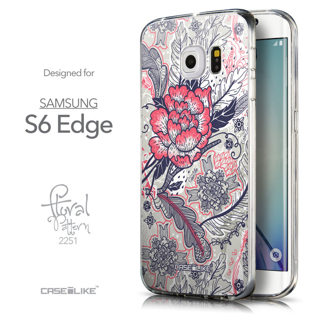 Front & Side View - CASEiLIKE Samsung Galaxy S6 Edge back cover Vintage Roses and Feathers Beige 2251