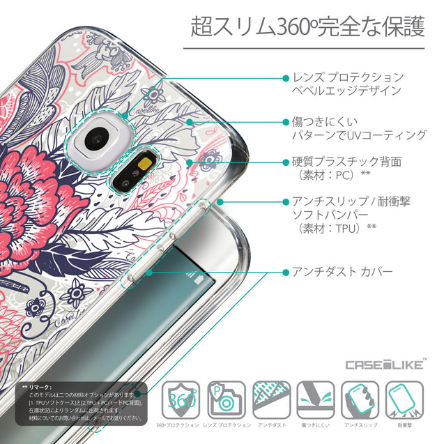 Details in Japanese - CASEiLIKE Samsung Galaxy S6 Edge back cover Vintage Roses and Feathers Beige 2251