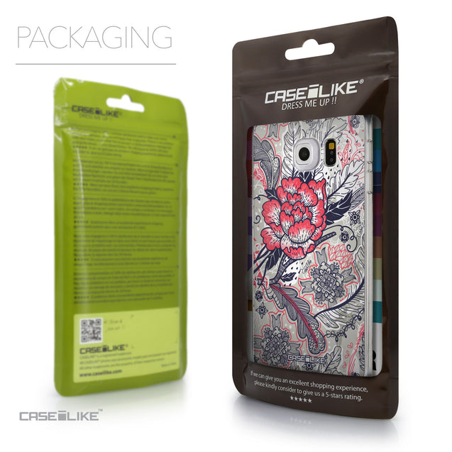 Packaging - CASEiLIKE Samsung Galaxy S6 Edge back cover Vintage Roses and Feathers Beige 2251
