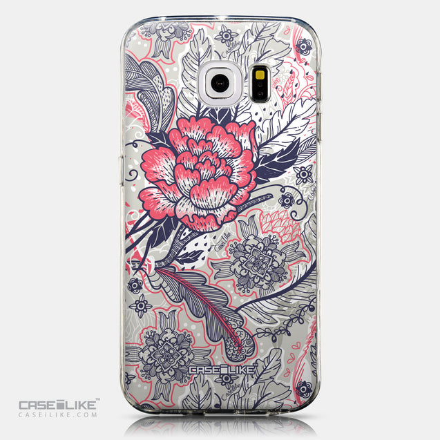 CASEiLIKE Samsung Galaxy S6 Edge back cover Vintage Roses and Feathers Beige 2251