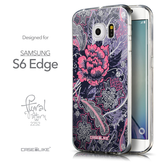 Front & Side View - CASEiLIKE Samsung Galaxy S6 Edge back cover Vintage Roses and Feathers Blue 2252
