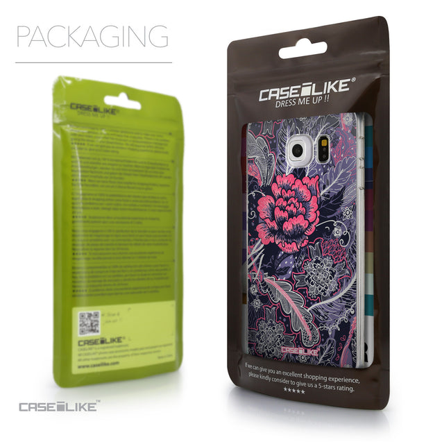 Packaging - CASEiLIKE Samsung Galaxy S6 Edge back cover Vintage Roses and Feathers Blue 2252