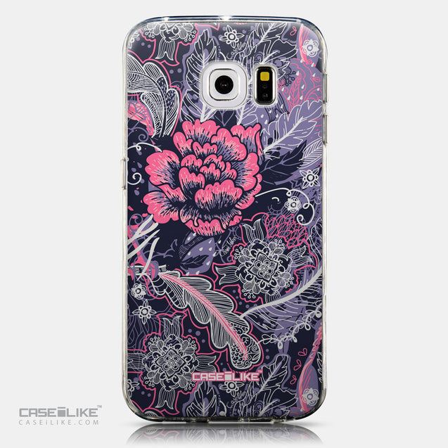 CASEiLIKE Samsung Galaxy S6 Edge back cover Vintage Roses and Feathers Blue 2252
