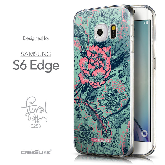 Front & Side View - CASEiLIKE Samsung Galaxy S6 Edge back cover Vintage Roses and Feathers Turquoise 2253