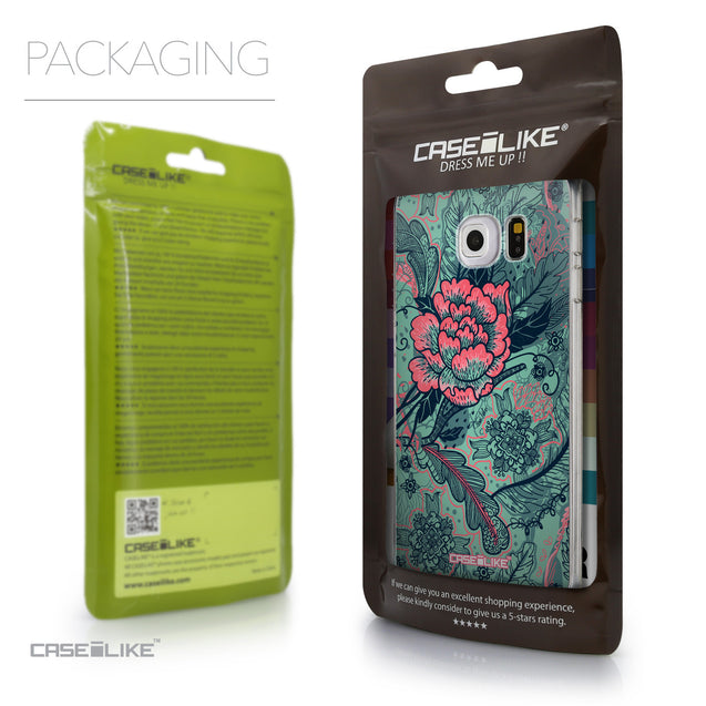 Packaging - CASEiLIKE Samsung Galaxy S6 Edge back cover Vintage Roses and Feathers Turquoise 2253