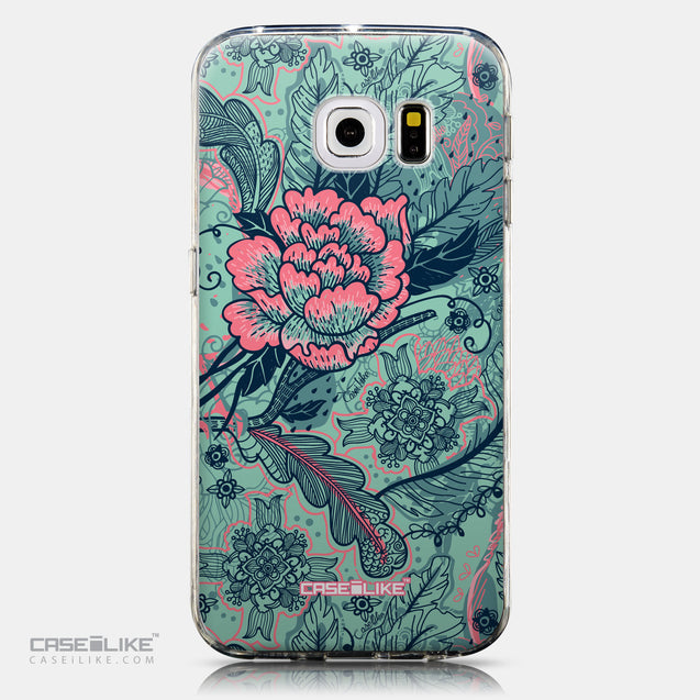 CASEiLIKE Samsung Galaxy S6 Edge back cover Vintage Roses and Feathers Turquoise 2253