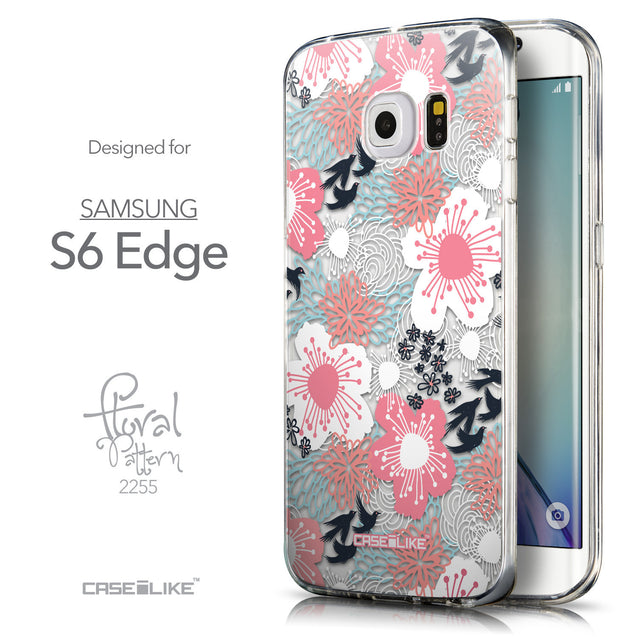 Front & Side View - CASEiLIKE Samsung Galaxy S6 Edge back cover Japanese Floral 2255