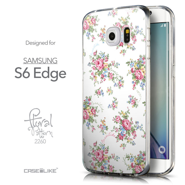 Front & Side View - CASEiLIKE Samsung Galaxy S6 Edge back cover Floral Rose Classic 2260