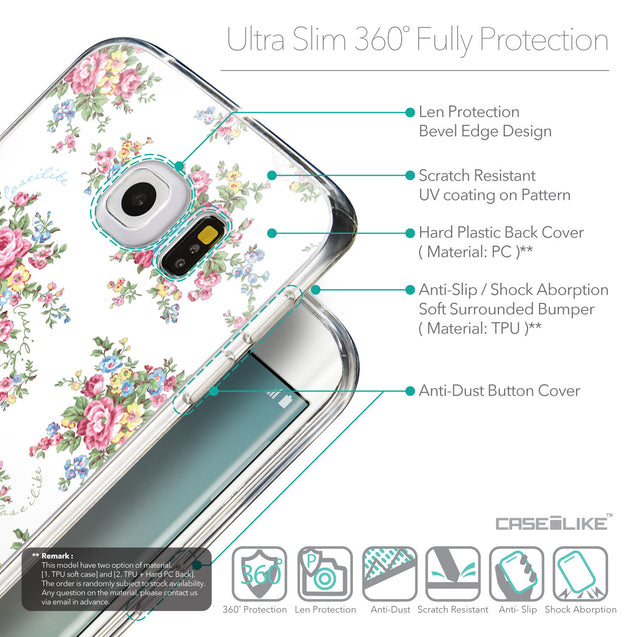 Details in English - CASEiLIKE Samsung Galaxy S6 Edge back cover Floral Rose Classic 2260