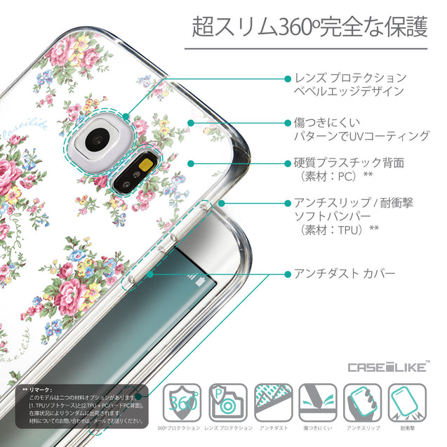 Details in Japanese - CASEiLIKE Samsung Galaxy S6 Edge back cover Floral Rose Classic 2260