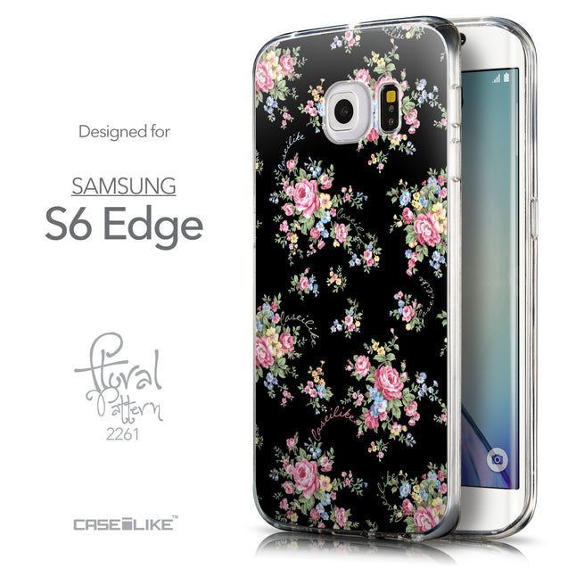 Front & Side View - CASEiLIKE Samsung Galaxy S6 Edge back cover Floral Rose Classic 2261