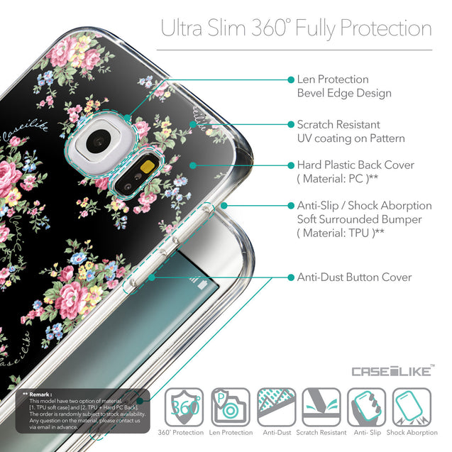 Details in English - CASEiLIKE Samsung Galaxy S6 Edge back cover Floral Rose Classic 2261