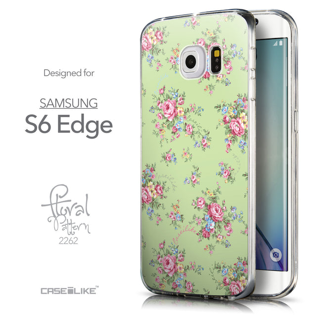 Front & Side View - CASEiLIKE Samsung Galaxy S6 Edge back cover Floral Rose Classic 2262