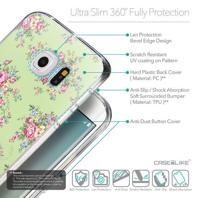Details in English - CASEiLIKE Samsung Galaxy S6 Edge back cover Floral Rose Classic 2262