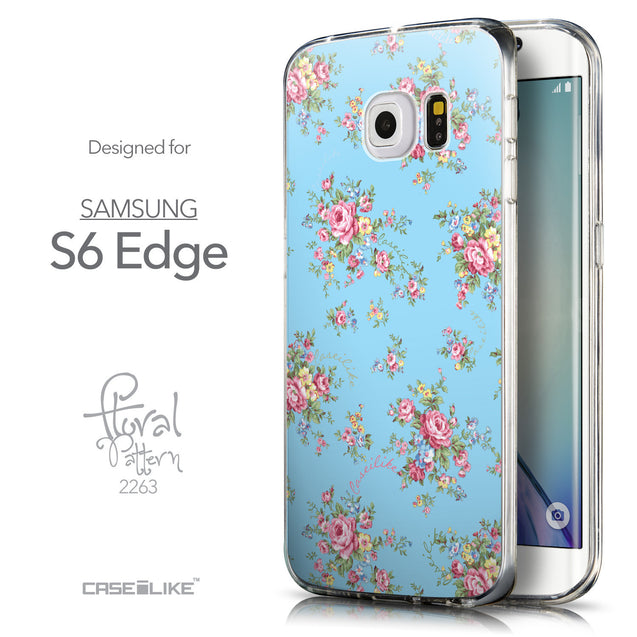 Front & Side View - CASEiLIKE Samsung Galaxy S6 Edge back cover Floral Rose Classic 2263
