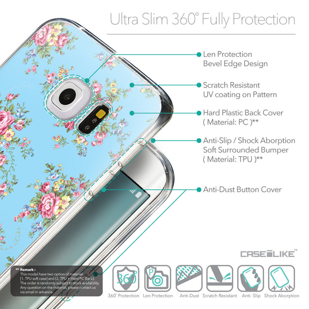 Details in English - CASEiLIKE Samsung Galaxy S6 Edge back cover Floral Rose Classic 2263