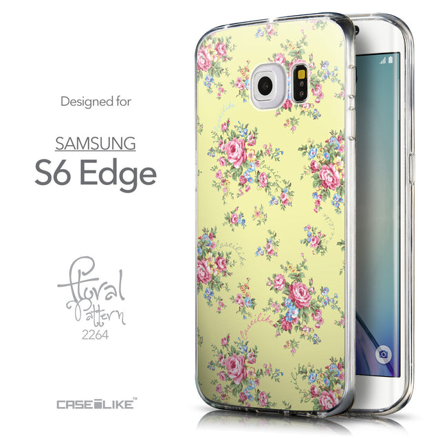Front & Side View - CASEiLIKE Samsung Galaxy S6 Edge back cover Floral Rose Classic 2264