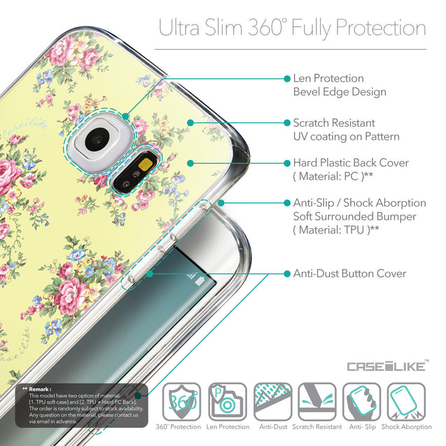 Details in English - CASEiLIKE Samsung Galaxy S6 Edge back cover Floral Rose Classic 2264