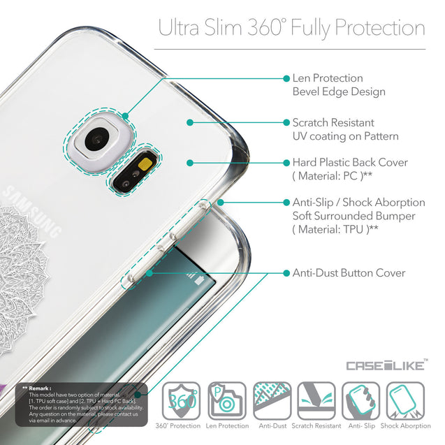 Details in English - CASEiLIKE Samsung Galaxy S6 Edge back cover Mandala Art 2301