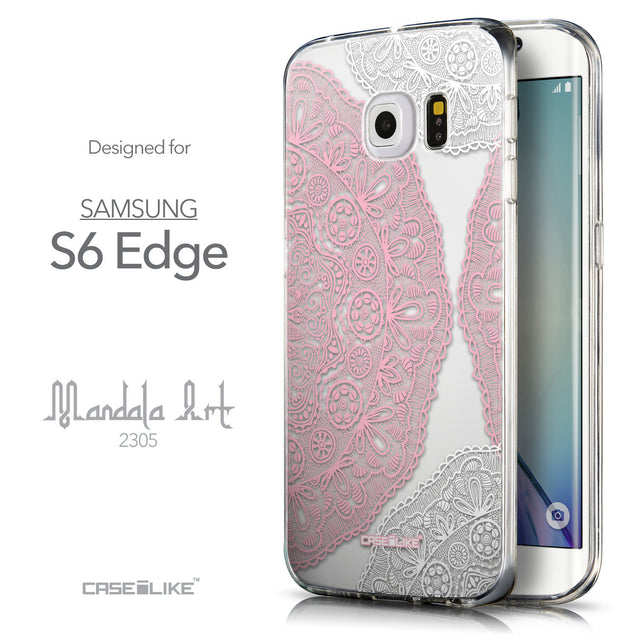 Front & Side View - CASEiLIKE Samsung Galaxy S6 Edge back cover Mandala Art 2305