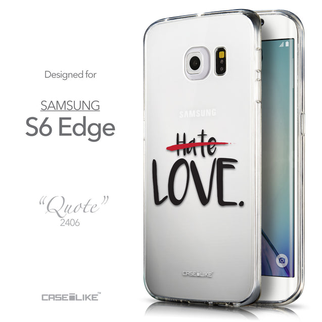 Front & Side View - CASEiLIKE Samsung Galaxy S6 Edge back cover Quote 2406