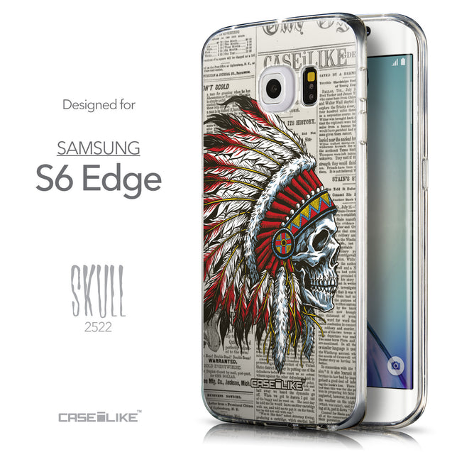 Front & Side View - CASEiLIKE Samsung Galaxy S6 Edge back cover Art of Skull 2522