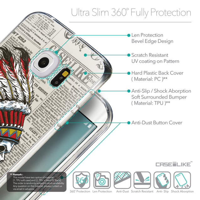 Details in English - CASEiLIKE Samsung Galaxy S6 Edge back cover Art of Skull 2522