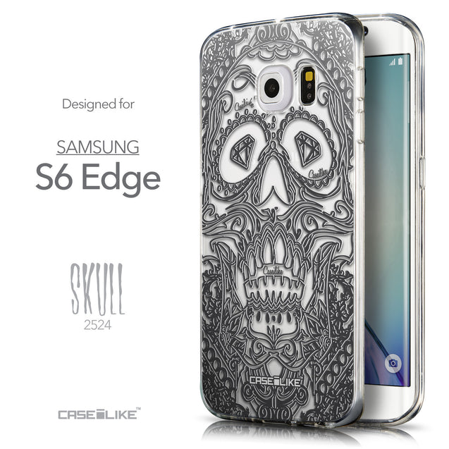 Front & Side View - CASEiLIKE Samsung Galaxy S6 Edge back cover Art of Skull 2524