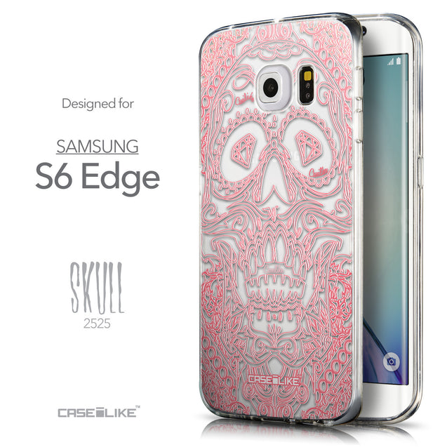 Front & Side View - CASEiLIKE Samsung Galaxy S6 Edge back cover Art of Skull 2525