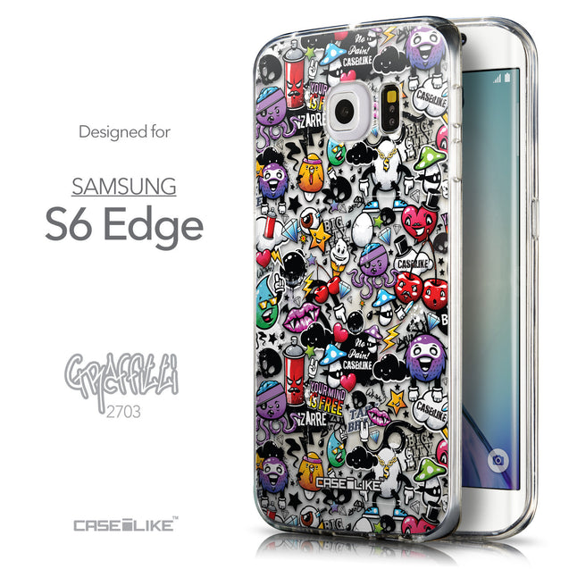 Front & Side View - CASEiLIKE Samsung Galaxy S6 Edge back cover Graffiti 2703