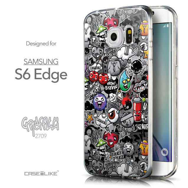 Front & Side View - CASEiLIKE Samsung Galaxy S6 Edge back cover Graffiti 2709