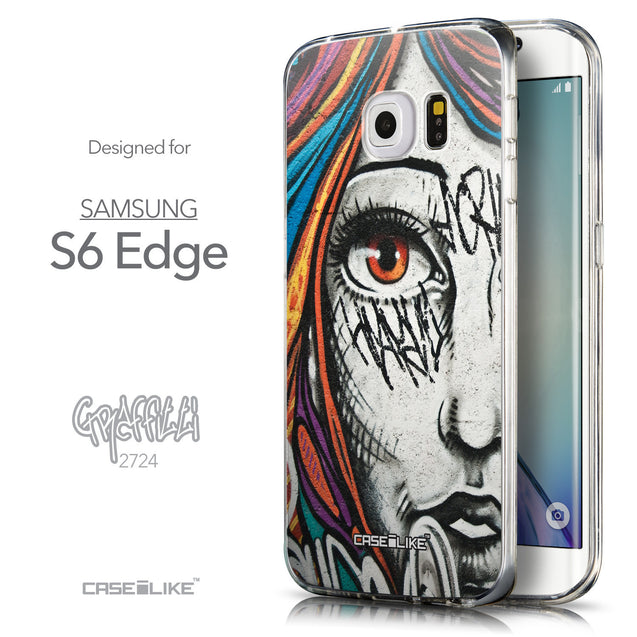 Front & Side View - CASEiLIKE Samsung Galaxy S6 Edge back cover Graffiti Girl 2724