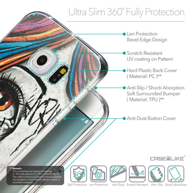 Details in English - CASEiLIKE Samsung Galaxy S6 Edge back cover Graffiti Girl 2724