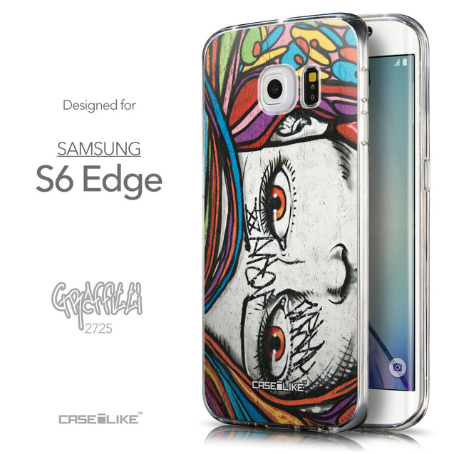 Front & Side View - CASEiLIKE Samsung Galaxy S6 Edge back cover Graffiti Girl 2725