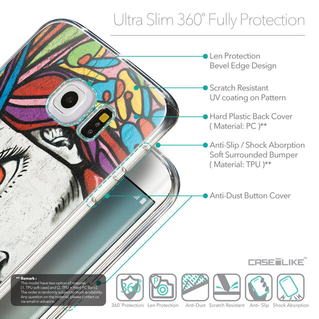 Details in English - CASEiLIKE Samsung Galaxy S6 Edge back cover Graffiti Girl 2725